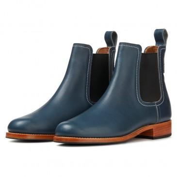 CHAMAIPA verhoogde schoenen dames - blauwe leren laarzen met hoge hak - dames sleehak laarzen 7 CM