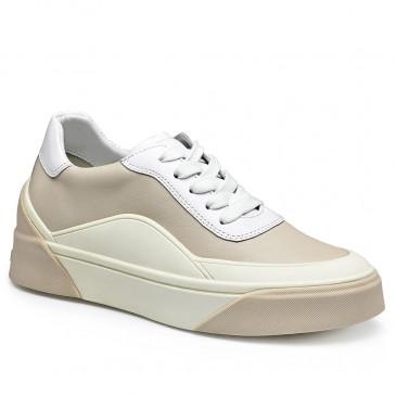 CHAMARIPA sneakers met verborgen sleehak - beige leren sneaker - dames sneakers met sleehak 6CM