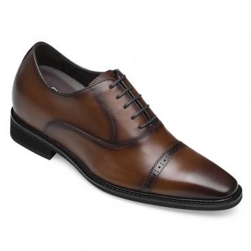 CHAMARIPA heren schoenen met verborgen hak verhoogde schoenen brogue oxford in bruin 8CM