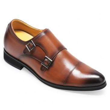 CHAMARIPA verhogende schoenen voor mannen Monk strap bruin leren schoenen met verborgen sleehak 7CM