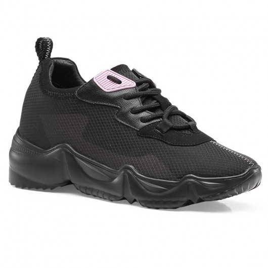 CHAMARIPA elevator sneakers til kvinder skjult hæl afslappet sko kvinder sort mesh sneakers kvinder 8CM