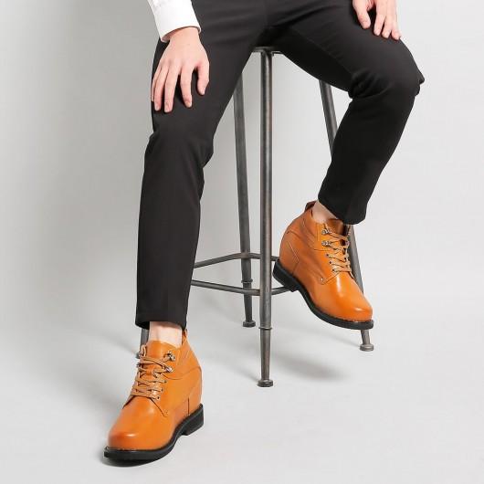 Chamaripa 5,51 tommer Elevatorsko Brun højde stigende sko for mænd til at se højere 14 cm
