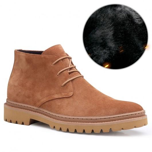 CHAMARIPA mænds liftsko i ruskind læder chukka-støvle afslappet afslappet sko 7 CM
