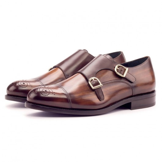 CHAMARIPA højdeforøgelse elevator munk sko til mænd brun læder kjole sko 7 cm