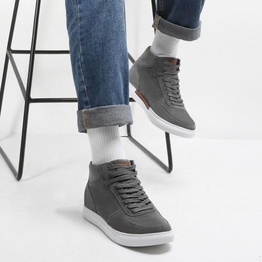 CHAMARIPA mænds liftsko med høj hæl afslappet sko til mænds grå sneakers 7 CM