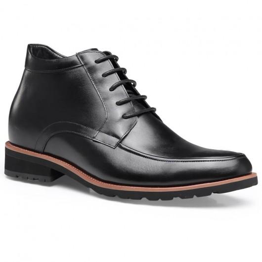 Chamaripa elevatorstøvler sort læderhøjde stigende sko til mænd afslappet chukka støvler 7 CM / 2.76 tommer