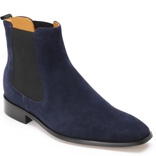 CHAMARIPA Chelsea elevatorstøvler til mænd blå ruskindstøvler, der gør dig 7 cm højere