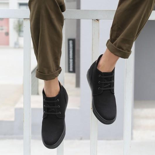 CHAMARIPA elevatorsko til mænd - ekstra hævende sko - sort lærred mid-top sneaker, der gør dig 6 CM højere
