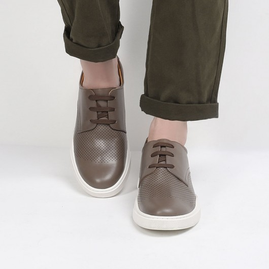 CHAMARIPA elevate sneakers til mænd højere sko camel perforeret læder sneakers herrer 6 CM højere