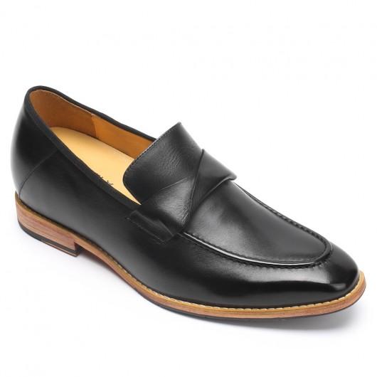 CHAMARIPA mænds højdeforøgende hejse loafer sort håndbrændt læder penny loafer 7 cm