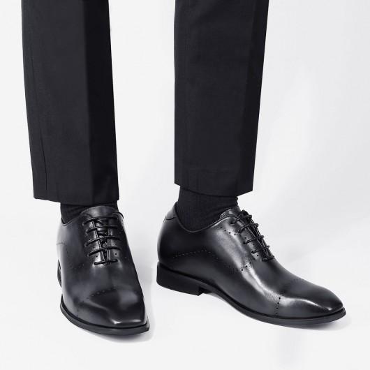 CHAMARIPA kjolelevatorsko til mænd ekstra højdesko mænd grå læder oxfords 7 CM højere