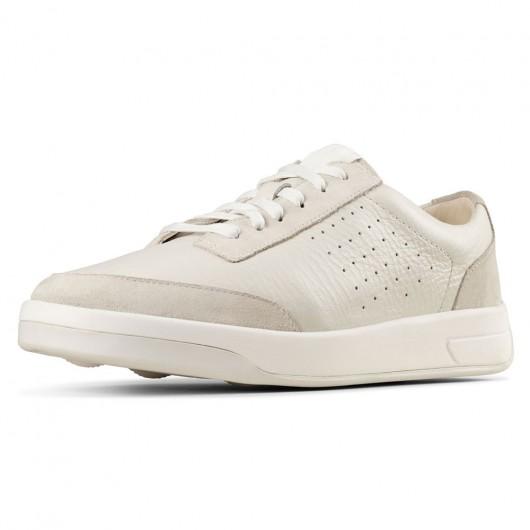 CHAMARIPA elevator sko til mænd hvide læder højere sko, der gør dig 7 CM højere