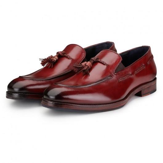 CHAMARIPA højde stigende sko, der tilføjer højde - håndlavede kvast loafers - vin rød - 7 CM højere