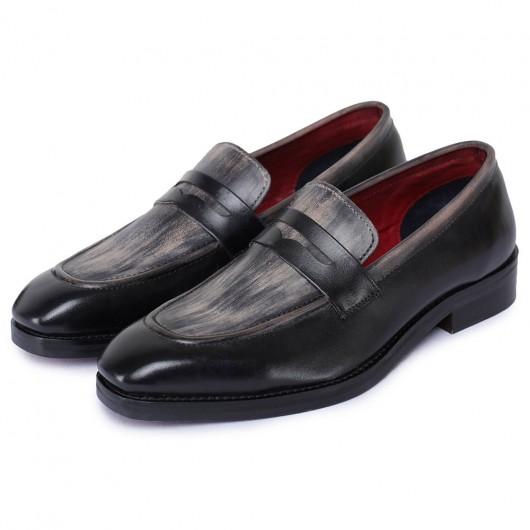 CHAMARIPA højde stigende sko til mænd - håndlavede øre loafers - sort - 7 CM højere