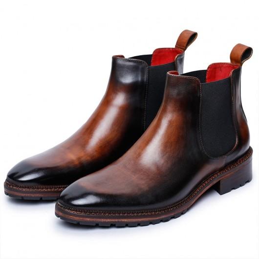 CHAMARIPA elevatorstøvler - høje herrestøvler - brune herrestøvler i Chelsea for at tilføje højde -7 cm højere