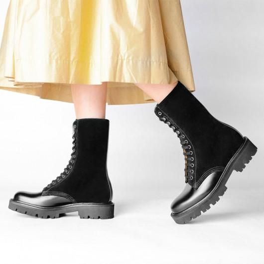 CHAMARIPA kvindesko støvler - sorte plateau kile støvler - læder chunky derby støvler 7 CM højere