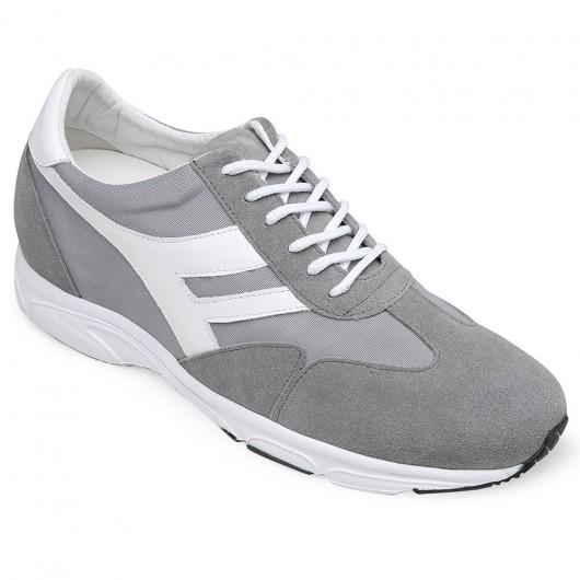 CHAMARIPA stigende sko til korte mænd grå ruskind elevator sneakers sko 8 CM