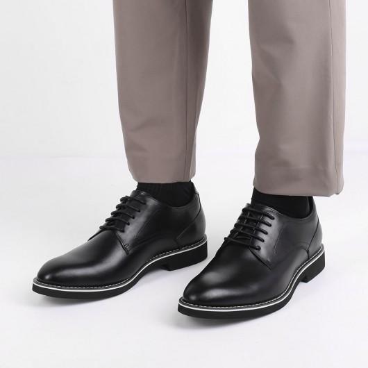 CHAMARIPA elevator derby sko til mænd sort læder derby gør dig højere 5 CM
