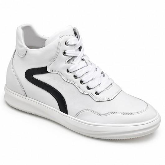 CHAMARIPA elevator sneakers til mænd høj cut casual skjulte hæl sko hvid kalveskind læder 6CM