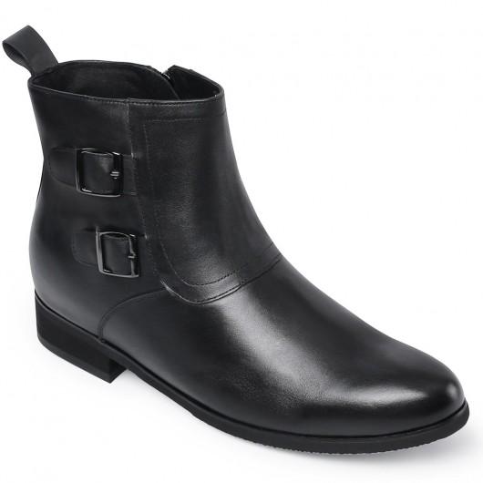 Chamaripa højde stigende støvler skjulte højhælstøvler til mænds sort læder kjole støvler med lynlås 7 cm / 2,76 tommer