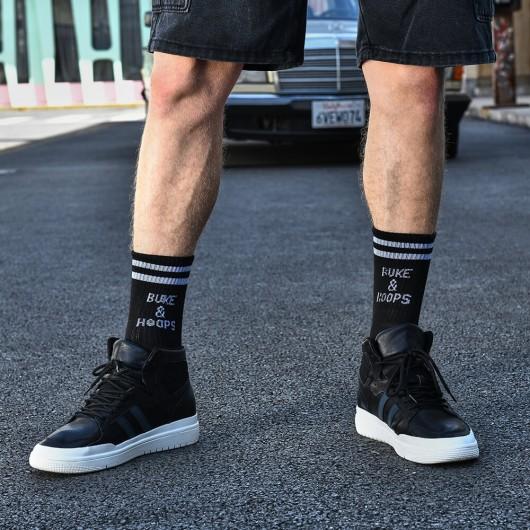 CHAMARIPA elevator sneaker til mænd, åndbare sorte sko, der gør dig højere 7 CM