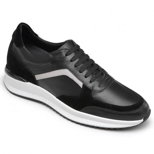 CHAMARIPA casual sko til mænd, der bliver højere sorte ko læder sko 6 CM