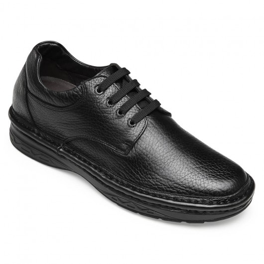 Chamaripa skjulte højhælsko til mænd sort læder forretning afslappet elevatorsko snørre mænd højere sko 7CM