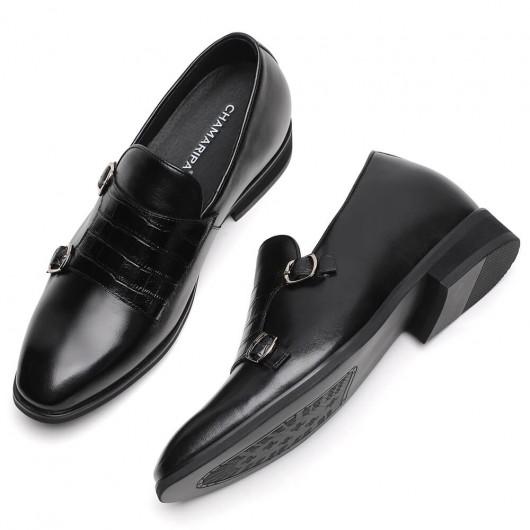 Chamaripa Elevatorsko Skinnende krokodille sort dobbelt munk skjult hæl loafer sko til mænd 7 cm / 2,76 tommer