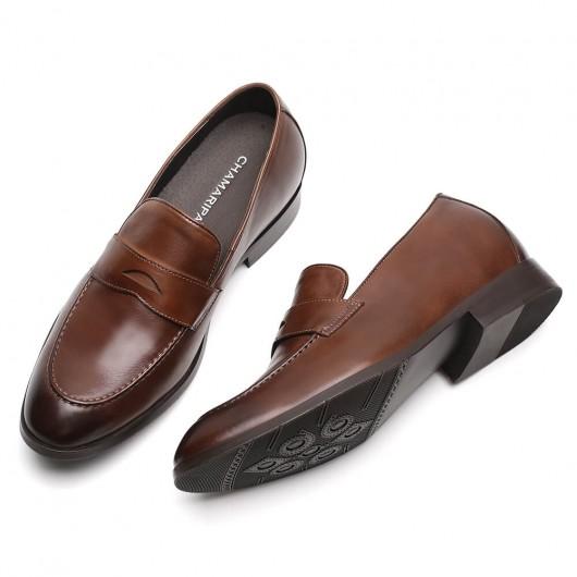 Chamaripa højde stigende glid på sko brune mænds liftsko kalveskind ørebrød 7 cm / 2,76 tommer