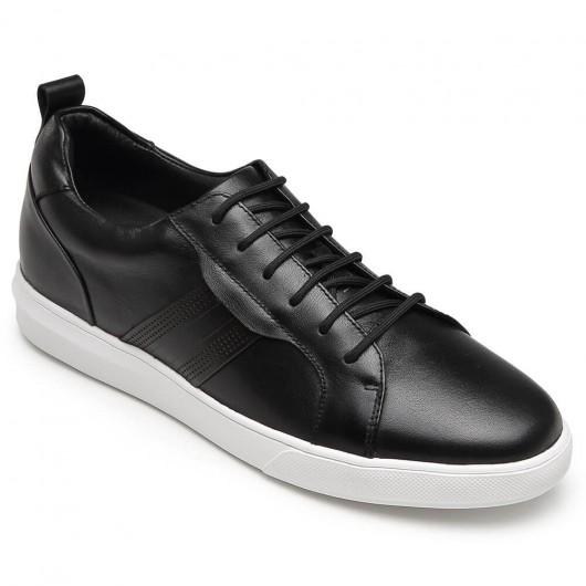CHAMARIPA højde stigning sneakers sort læder høje herre sneakers 6 CM