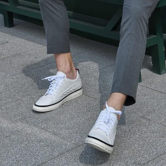 Chamaripa afslappet elevatorsko til mænd hvid krokodilleprint eleganti sneaker, der tilføjer højde 6 cm / 2,36 tommer