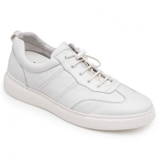 CHAMARIPA afslappede højere sko til mænd hvid læder højhælede sko 6 cm