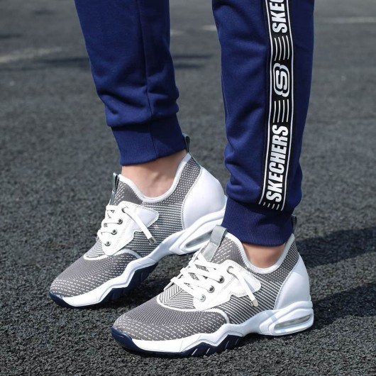 CHAMARIPA herres højdeforøgende sko grå elastisk stof slip-on sneaker sko, der gør dig 7 CM højere