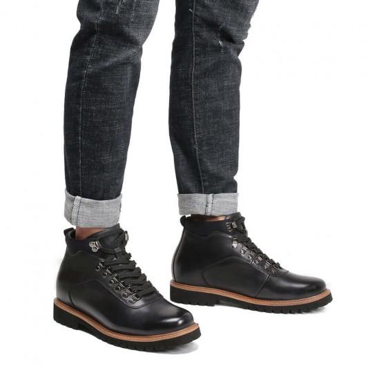 CHAMARIPA mænds stigende støvler sort læder snørestøvler 8 CM