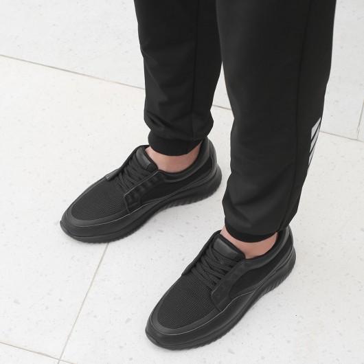 CHAMARIPA skjulte hæltræner til mænd sort elastisk stof og læder åndbare sportssko, der gør dig 7 CM højere
