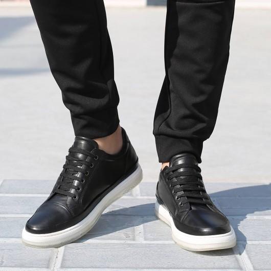 CHAMARIPA afslappede elevatorsko til mænd højdeforøgende sko sort læder sneakerssko 5 CM højere