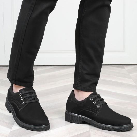 CHAMARIPA herre kjole afslappet elevator sko sort nubuck læder højere sko 7 CM højere
