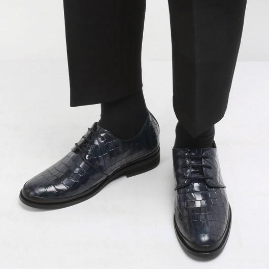 CHAMARIPA mænds formelle elevatorsko mønster læder kjole sko i sort, der gør dig 8CM højere
