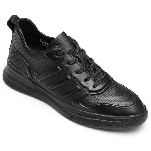 CHAMARIPA afslappet elevator sneakers højde stigende sneakers mænd sort læder sneakers 6CM