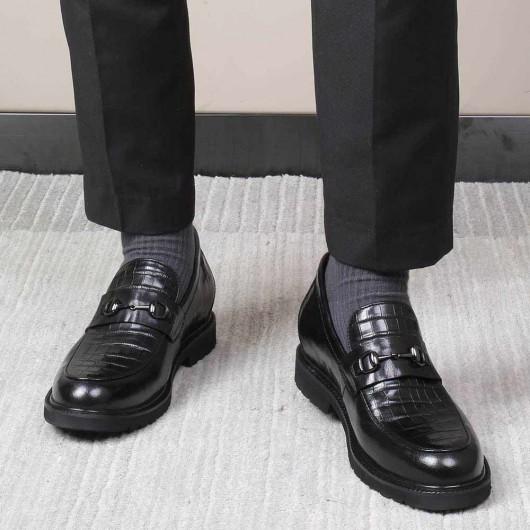 CHAMARIPA kjole elevator sko høje mænd loafer sko sort læder sko 7 cm
