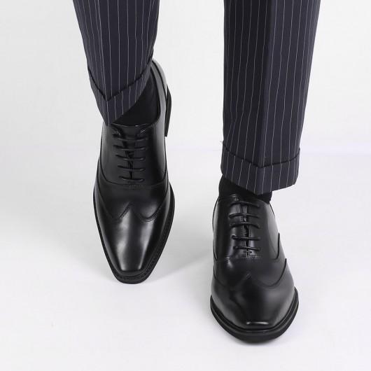 CHAMARIPA elevator oxfords til mænd kjole højde stigende sko læder Wing-tip oxford i sort 8CM