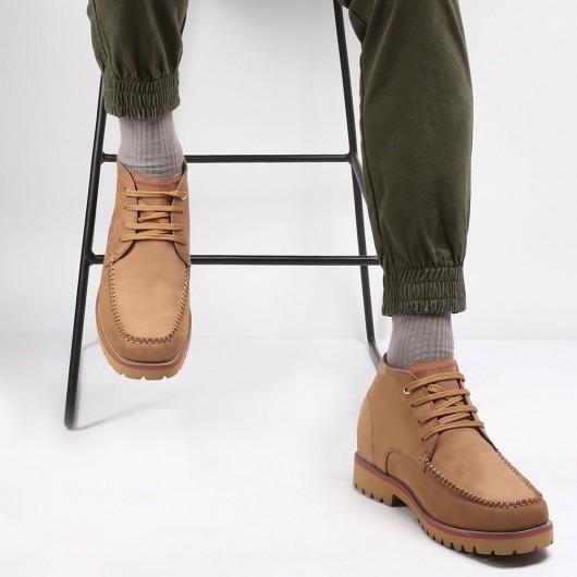 CHAMARIPA højde stigende støvler til mænd høje mænd støvler brun nubuck læder arbejdsstøvler 9 cm
