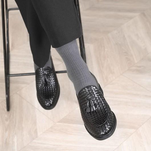 CHAMARIPA elevator sko elevate loafers mænd sort vævet læder loafers 8 CM højere