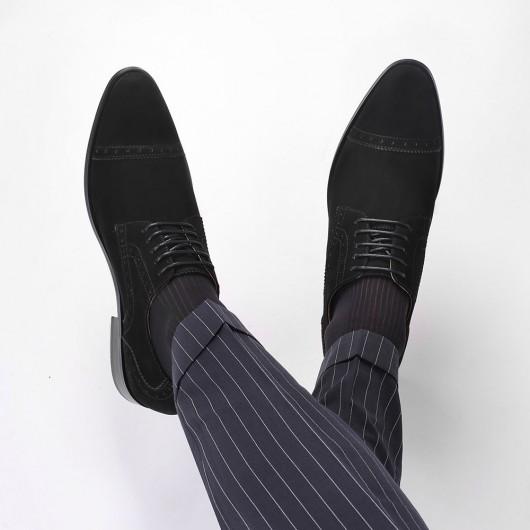 CHAMARIPA nubuck højdeforøgende sko til mænd kjole elevatorsko sort 8 CM