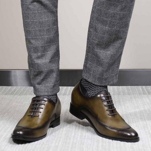 CHAMARIPA sukienka podwyższająca dla mężczyzn buty podwyższające ze skóry khaki 8 CM