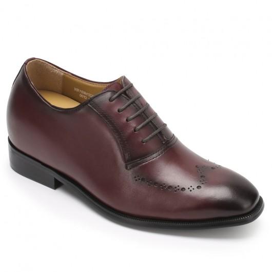 Chamaripa højde stigende sko til mænd brunt kalveskind Oxford elevator kjole sko 7 CM