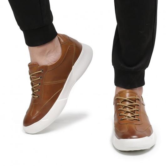 CHAMARIPA elevate sneakers til mænd rødbrunt læder højde hæve sko højde stigning 7 cm