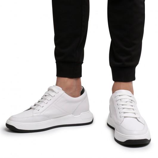 CHAMARIPA elevator sneakers til mænd hvid læder skjult hælsko 7CM