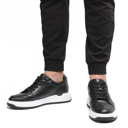 Chamaripa elevator sneakers til mænd sort læder skjult hælsko 7 CM