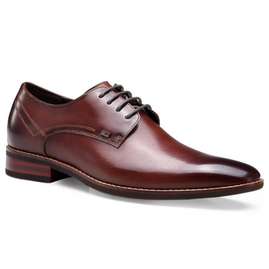 Chamaripa Height Increasing Dress Shoes Brown Red Elevator Shoes for Men 5 CM / 1.95 Inches